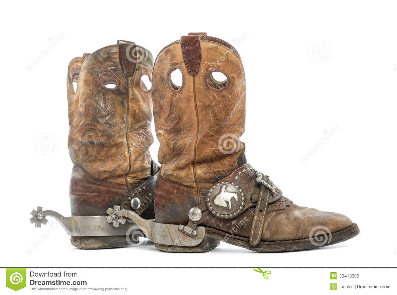 Side View Of A Pair Of Cowboy Boots With Spurs Royalty Free Stock ...