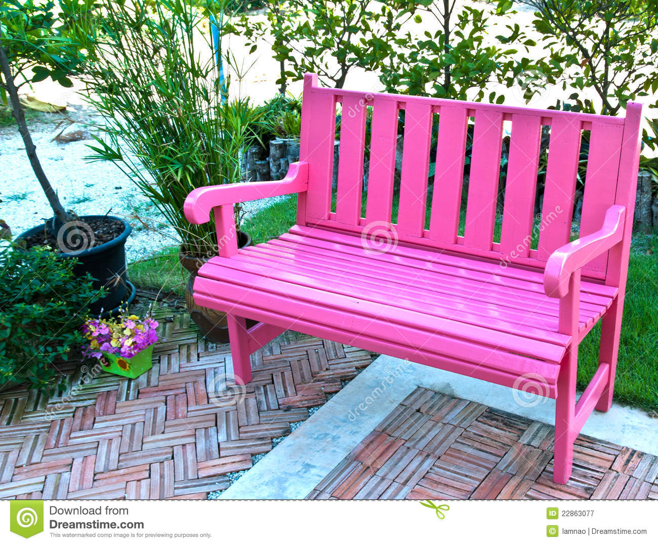 side view of pink bench royalty free stock photography  image  - bench garden pink