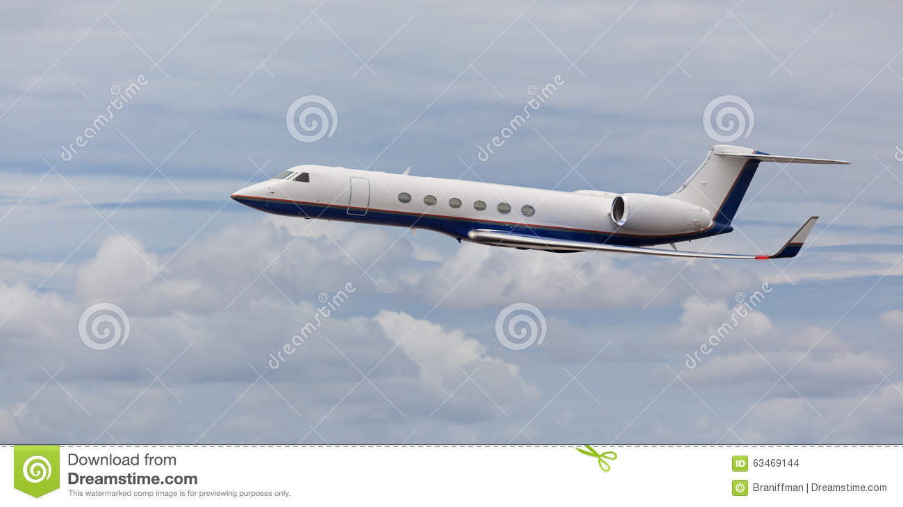 Side View Of A Private Jet Flying Stock Photo  Image 63469144