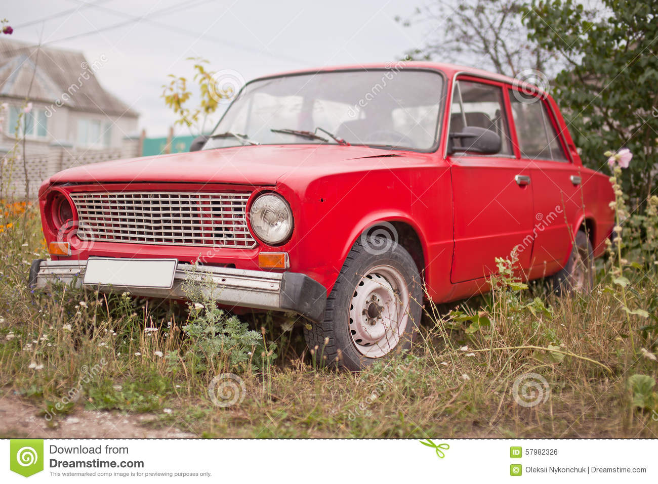 Side View Of Red Old Rusty Car Stock Image - Image of salvaging ...