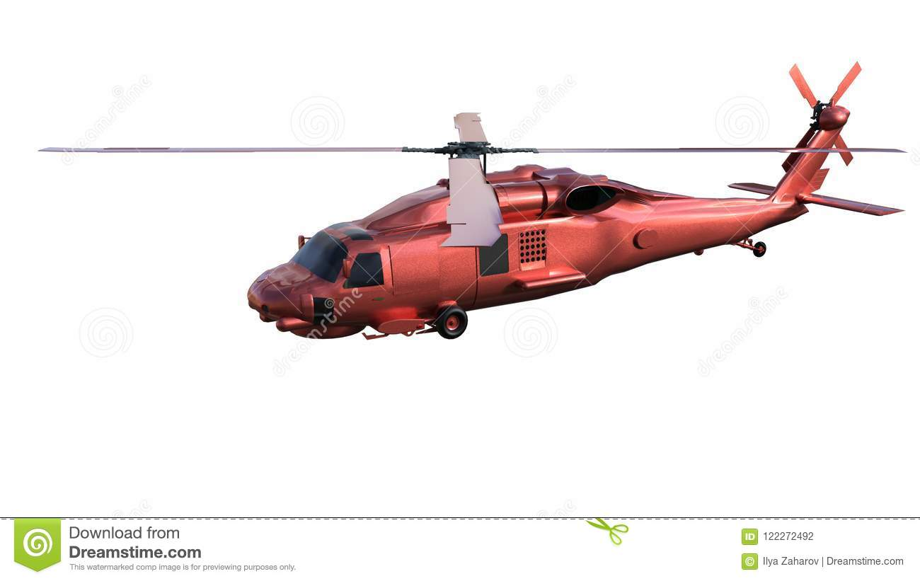 Side View Of A Red Rescue Helicopter Stock Illustration