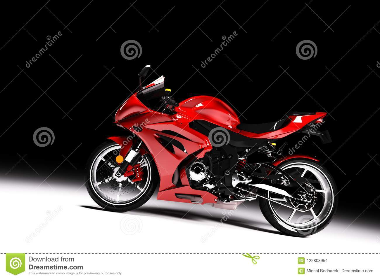 motorcycle background d  Side View Of Red Sports Motorcycle In A Spotlight Stock Illustration ...