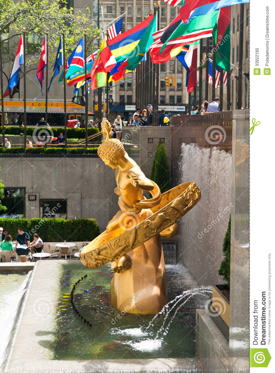 side view of the sculpture of prometheus in rockefeller