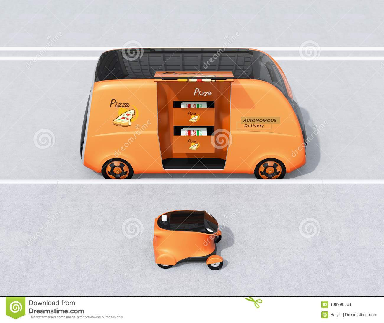 Side view of self-driving pizza delivery van and drone in the street