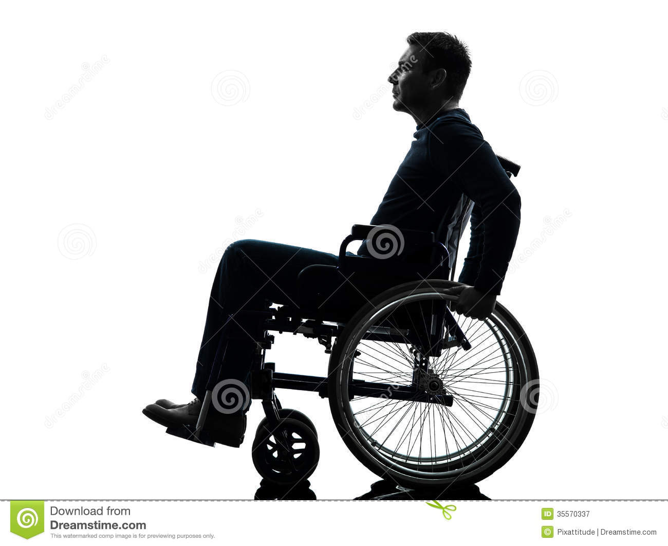 Side view serious handicapped man in wheelchair silhouette Handicapped wheelchair