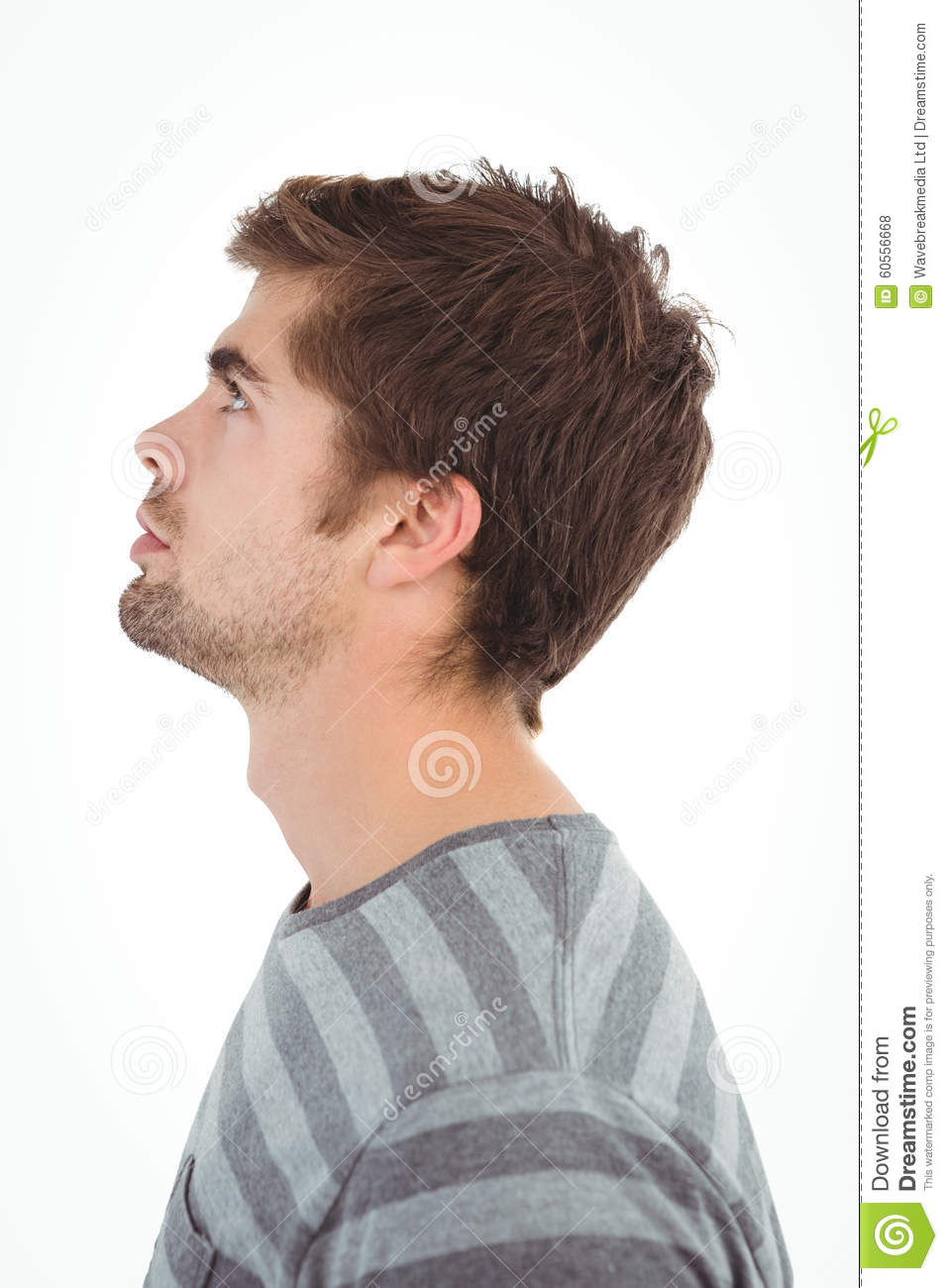Side View Of Serious Man Looking Up Stock Photo Image Of