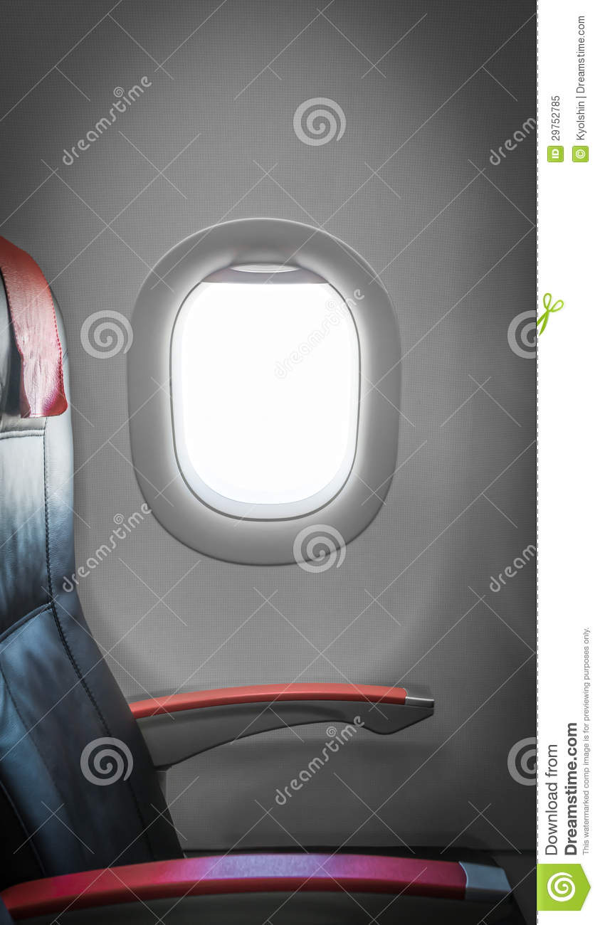 Passenger Seat In Plane With Window Aside Royalty Free