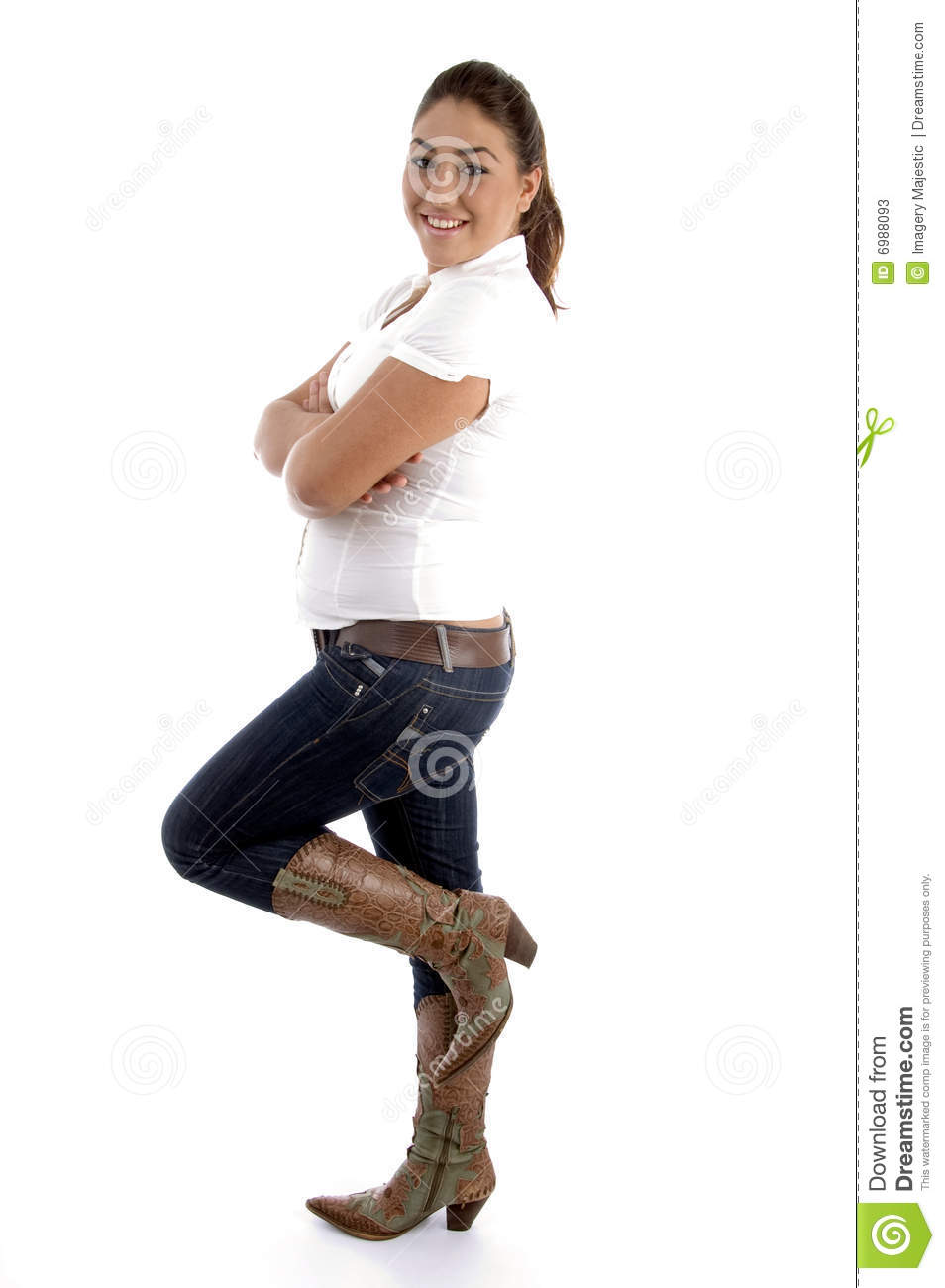 Side view of standing woman against white background Woman Standing Side White Background