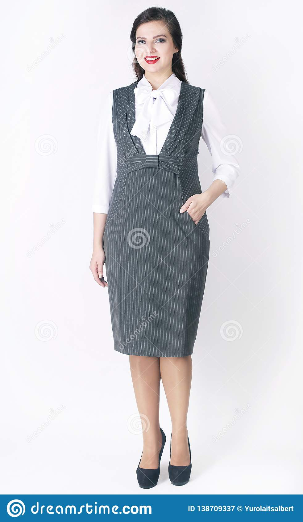 Side View. Stylish Female Model In Business Dress .plus Size ...