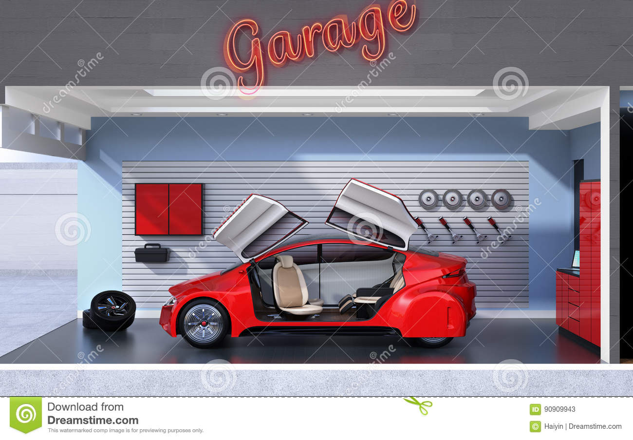 side view of stylish garage interior stock illustration image 90909943. Black Bedroom Furniture Sets. Home Design Ideas