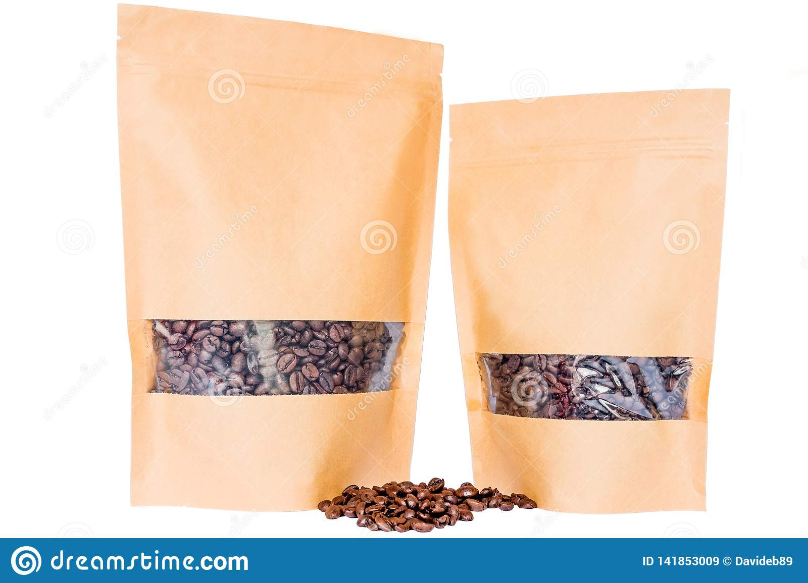 Side view of two kraft paper doypack stand up pouches with window and zipper filled with coffee beans on white background