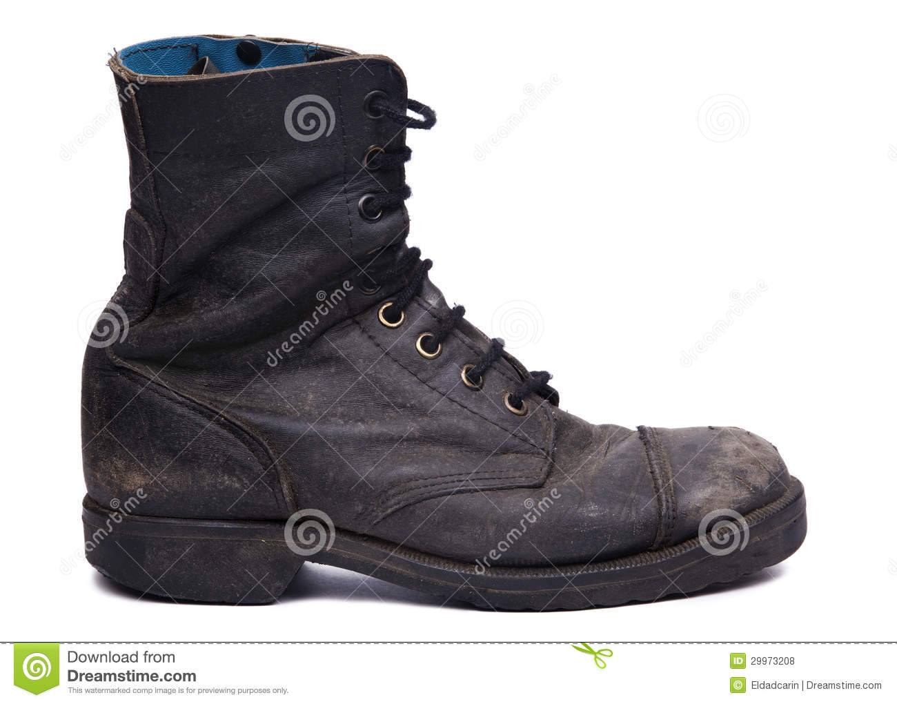 Used Army Boot Side View Royalty Free Stock s