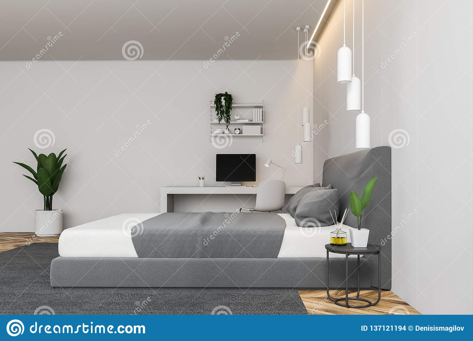Side View Of White Bedroom With Computer Desk Stock ...