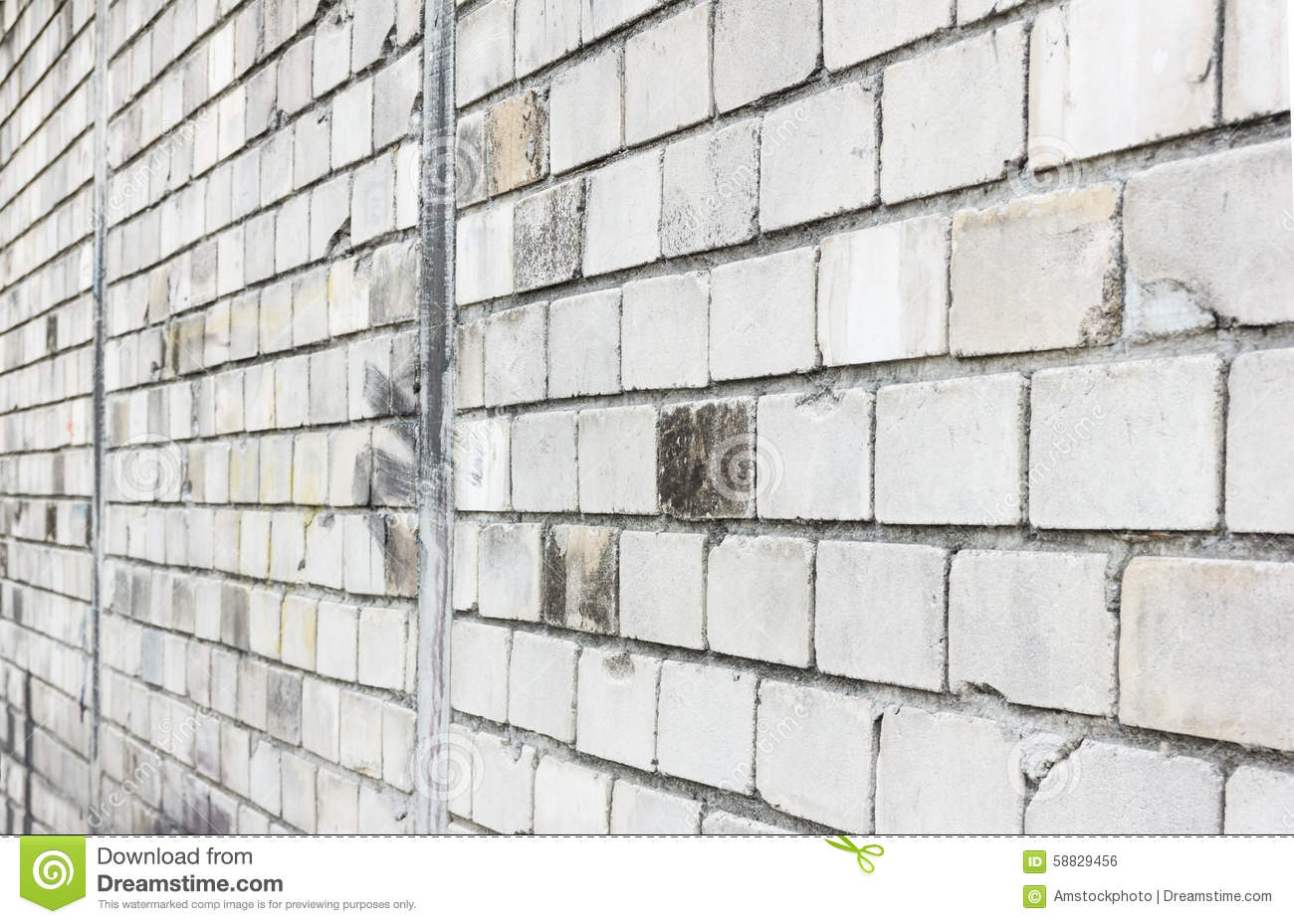 Download Side View Of White Brick Wall Background Stock Photo