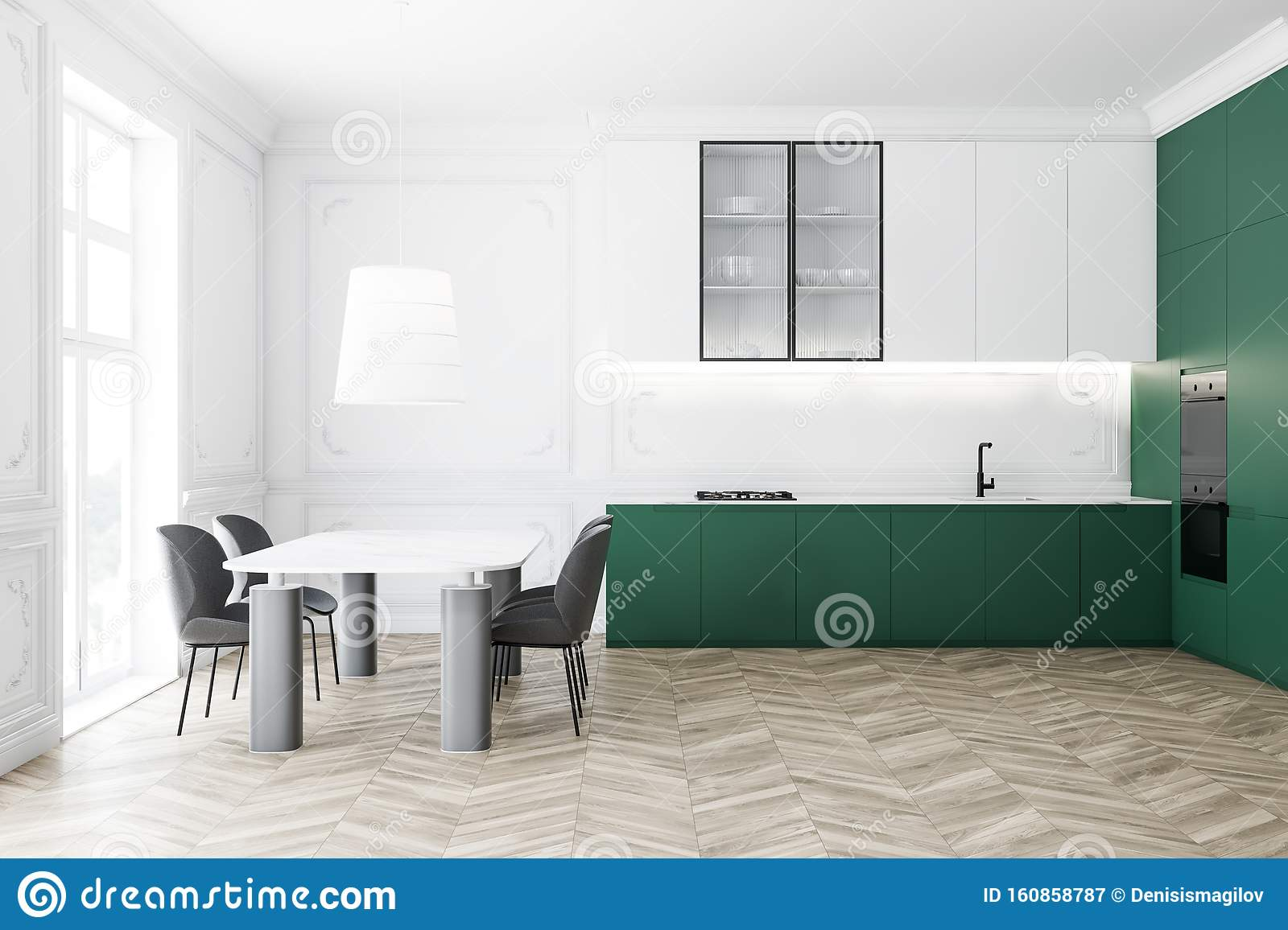 Side View Of White And Green Kitchen With Table Stock Illustration Illustration Of Chair Kitchenware 160858787