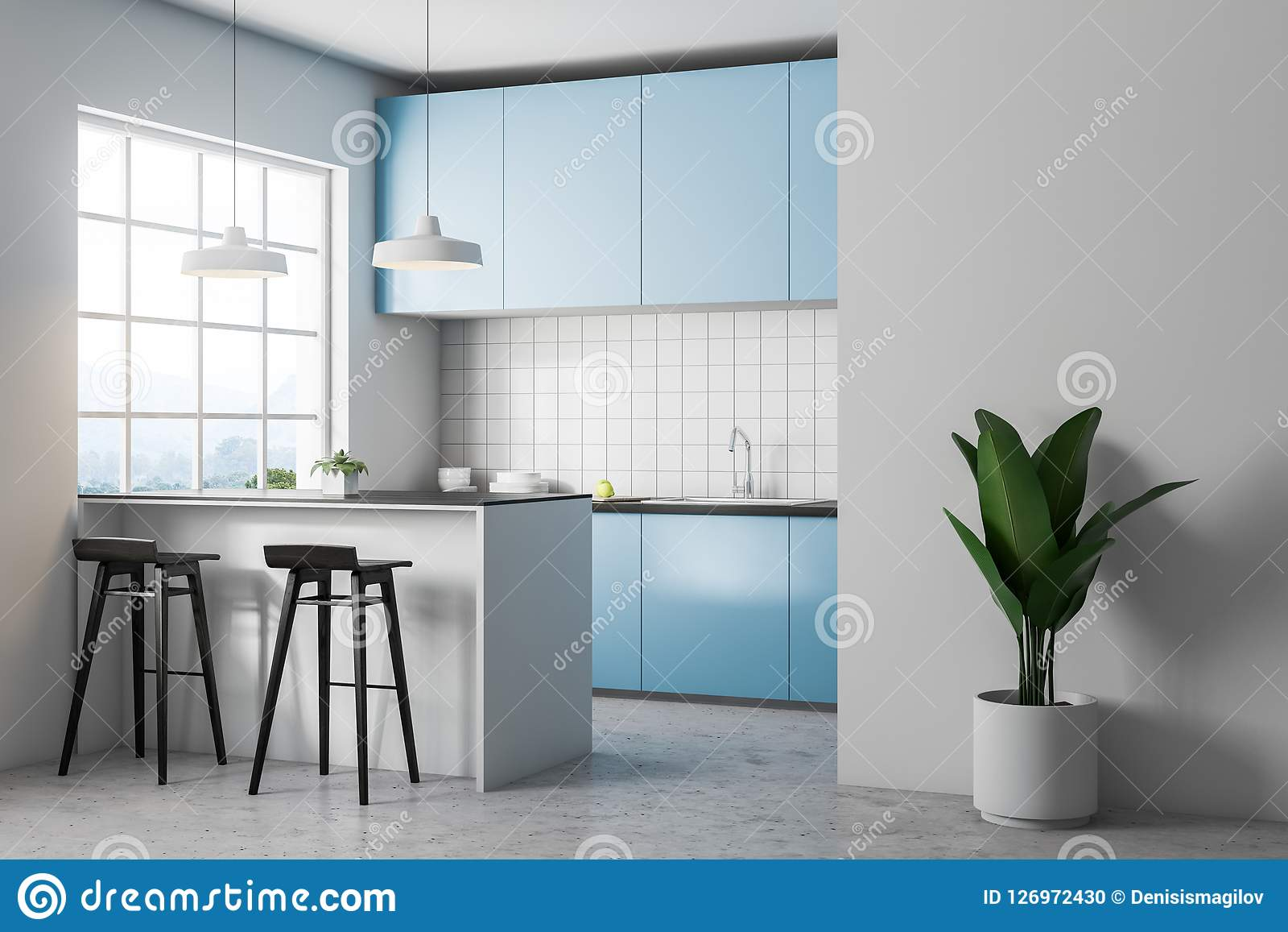 White Tile Kitchen Corner Blue Countertops Stock Illustration Illustration Of Eating Luxury 126972430