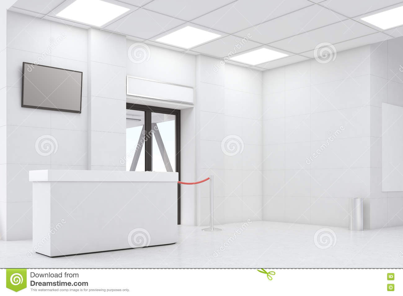 Side view office set Mock Side View Of An Airport Waiting Room With Desk Tv Set Door And Rope White Walls Concept Of Travelling 3d Rendering Mock Up Dreamstimecom Side View Of White Walls Of Airport Stock Illustration