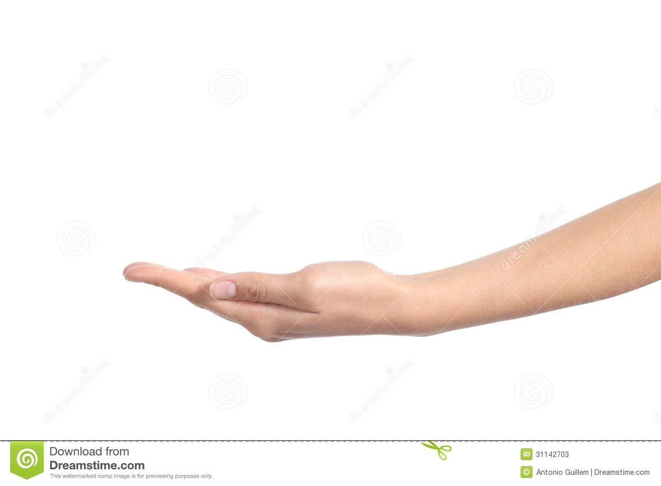 Side View Of A Woman Hand With Palm Up Stock Photos