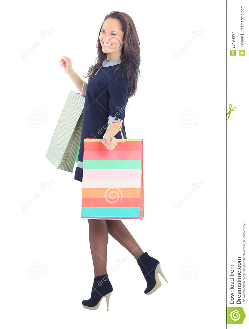 New Happy Woman Holding Shopping Bags Over Her Shoulder Stock Image - Image Of Happy Lifestyle ...