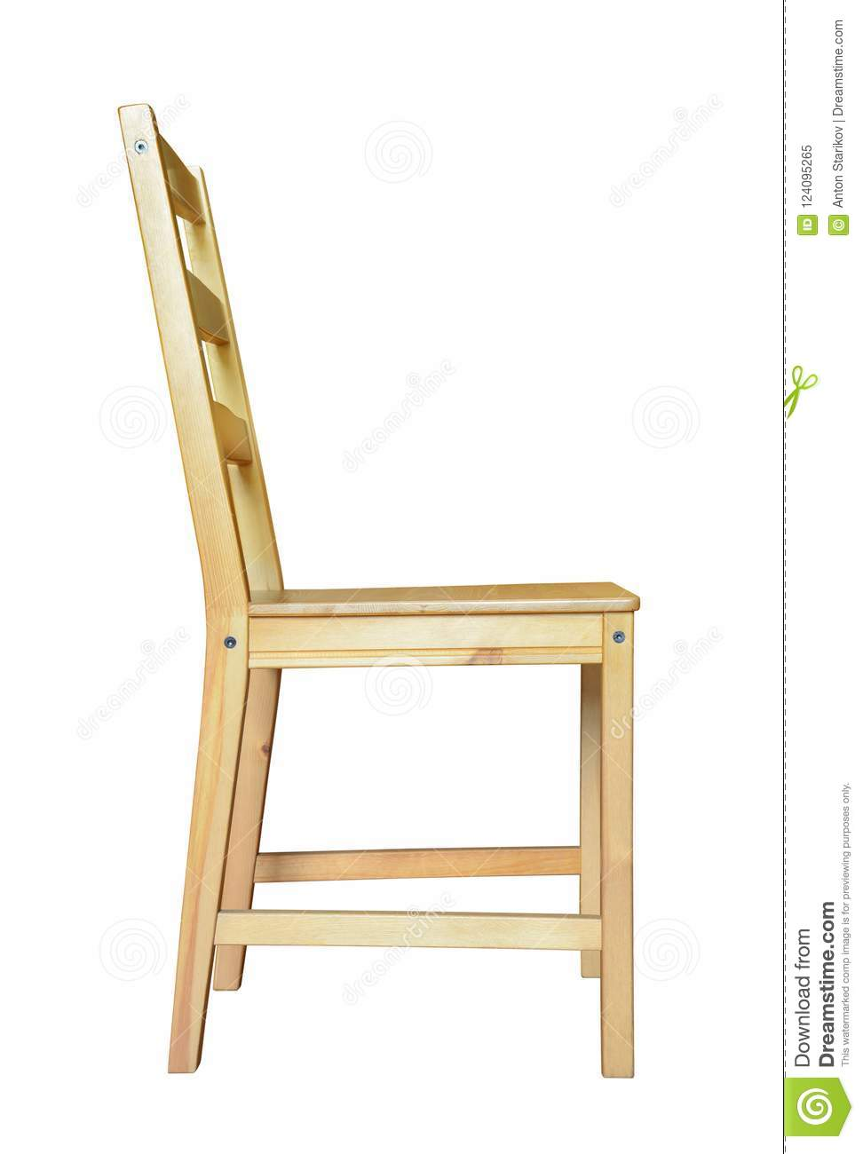 Download Side View Of Wooden Chair Stock Image. Image Of Furniture    124095265