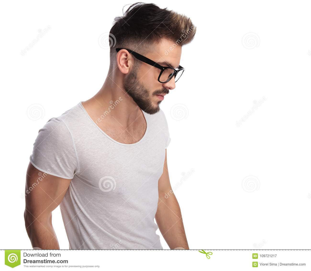 c084c37ba363 Side View Of A Young Casual Man Wearing Glasses Stock Image - Image ...