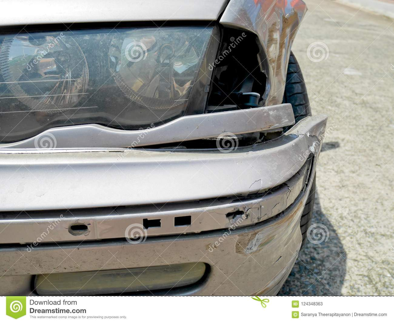 Sidelight And Front Bumper Broken Stock Image - Image of