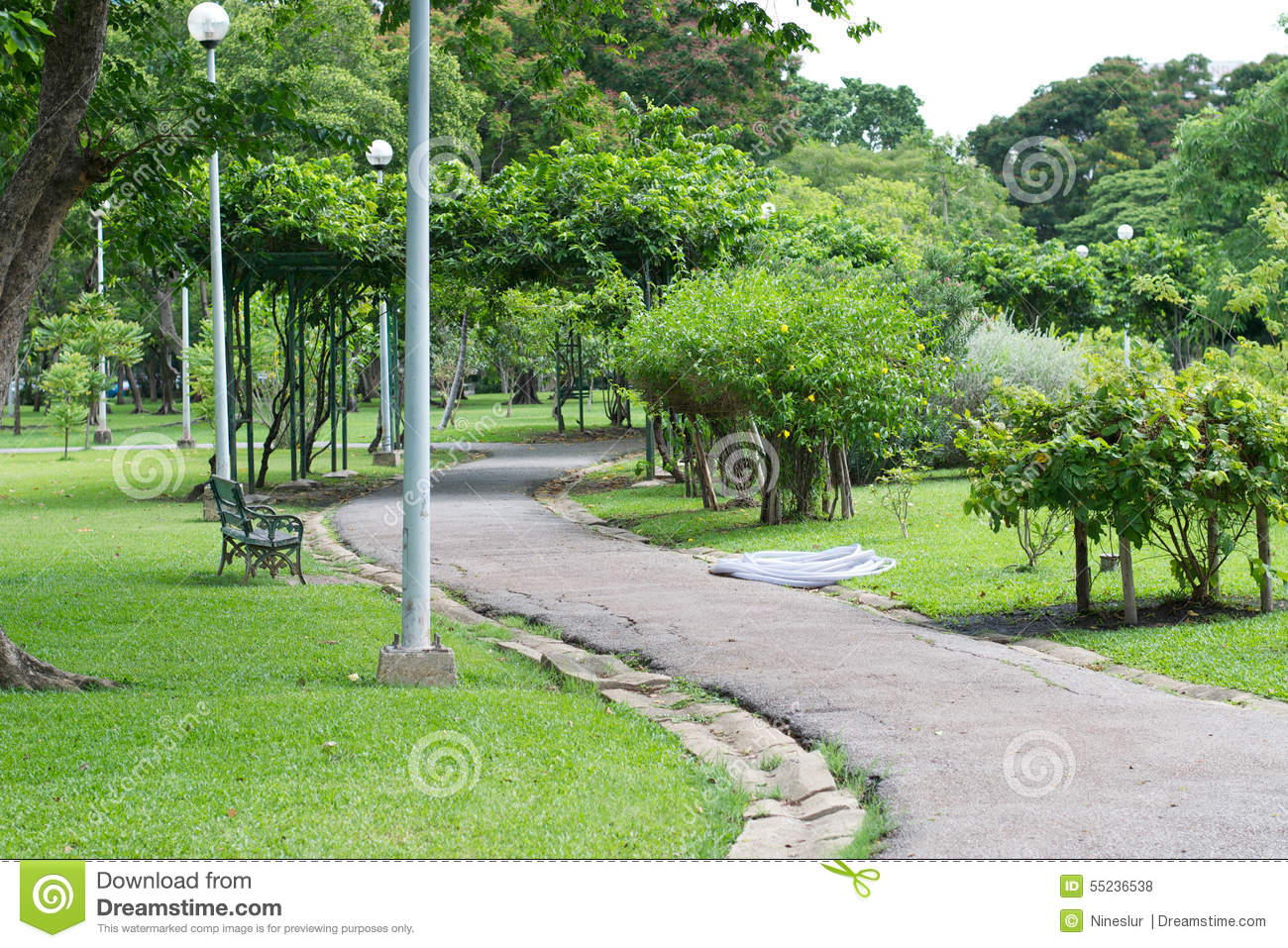 A Sidewalk In A Daylight Garden Stock Photo Image 55236538