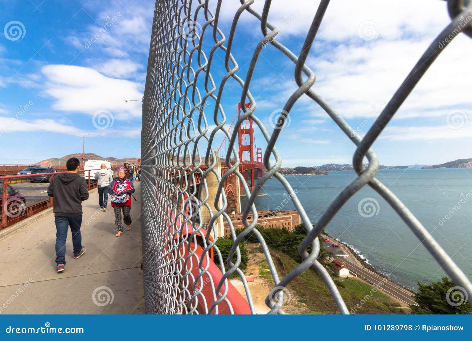 Sidewalk At The Golden Gate Bridge. Editorial Stock Photo - Image of ...