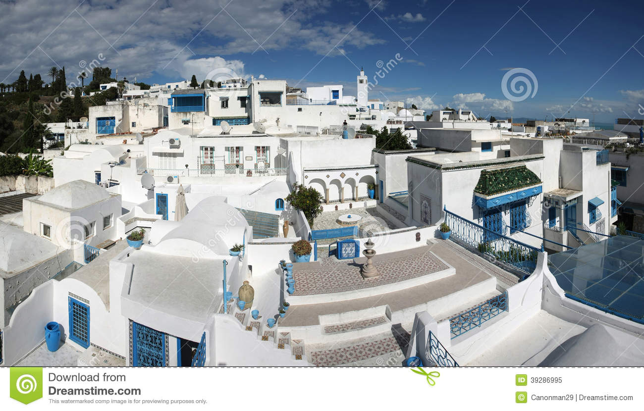 Mediterranean Style House Plans Sidi Bou Said Panorama Stock Image Image Of Cityscape