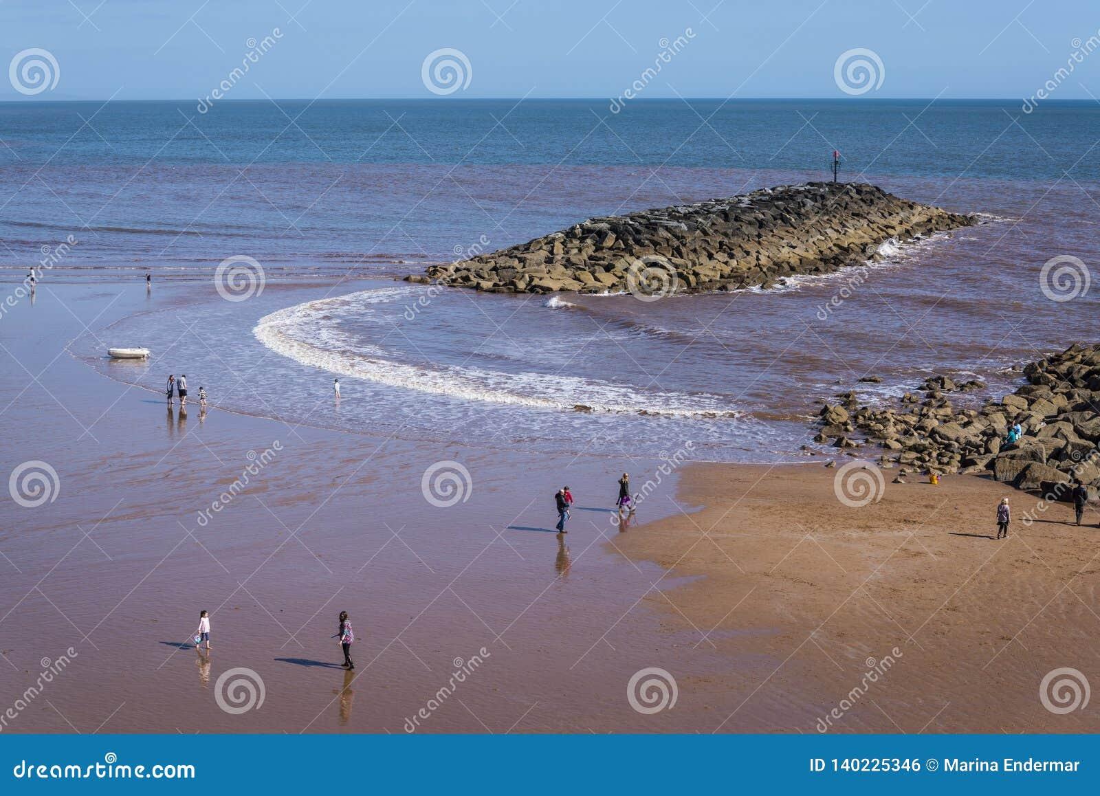 Sidmouthstrand, het Oosten Devon, Engeland, het Verenigd Koninkrijk