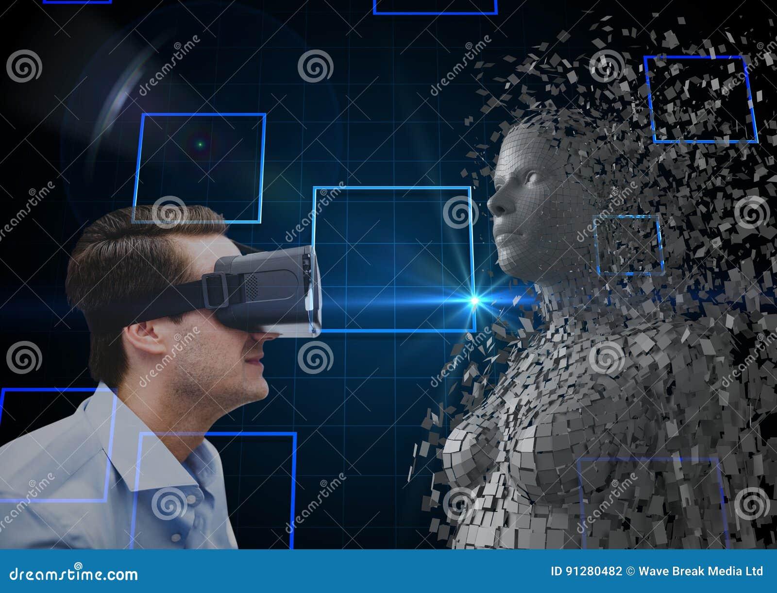 Sidosikt av affärsmannen som ser människan 3d på VR-exponeringsglas