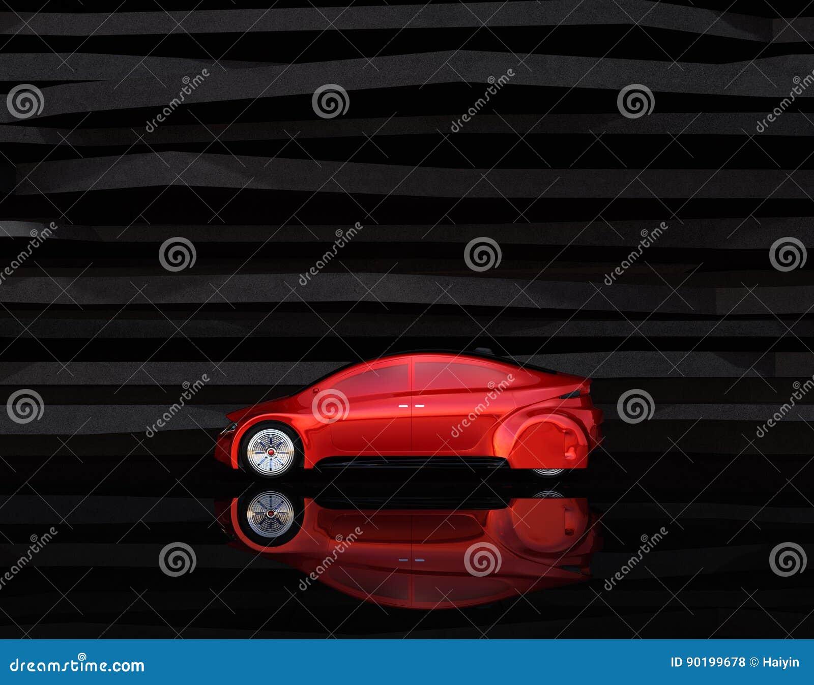 Sidosikt av den röda autonoma bilen