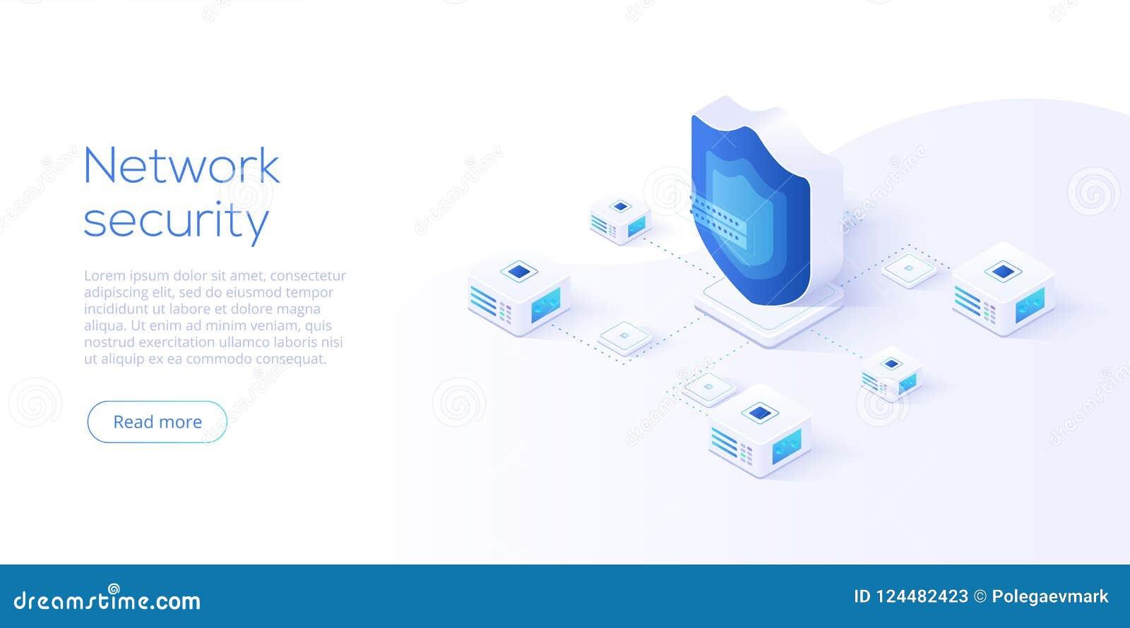 Sieć dane ochrony isometric wektorowa ilustracja Online serv