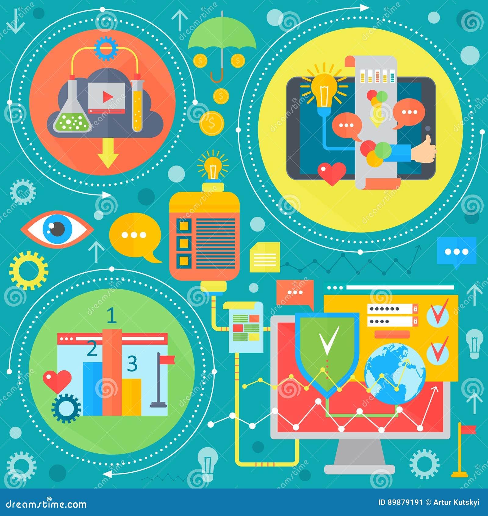 Sieć projekt i telefon komórkowy usługa apps mieszkania pojęcie Ikony dla sieć projekta, aplikacja sieciowa rozwój programy