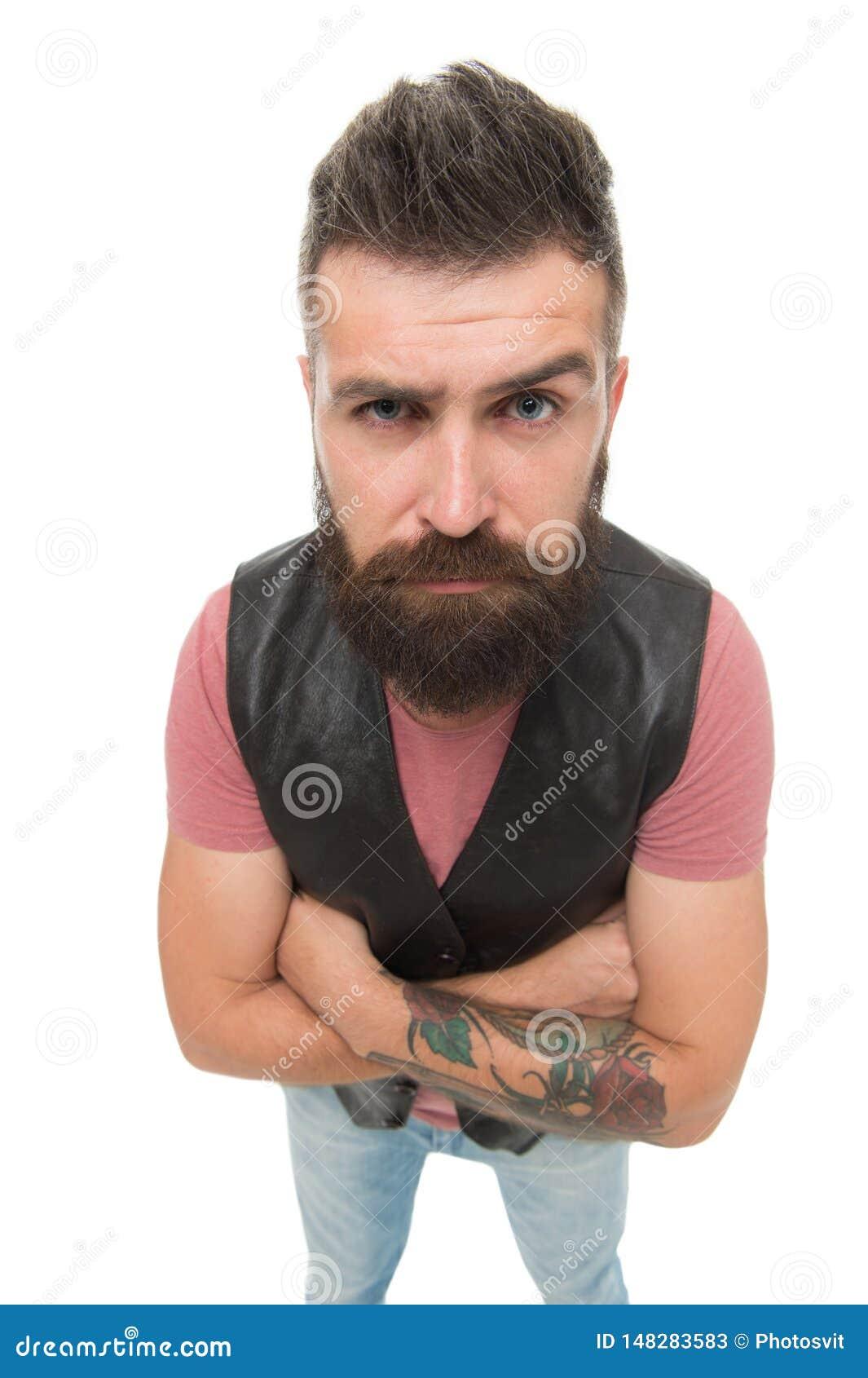 He Sie dort Hippie mit dem Schnurrbart und langem Bart Weißer Hintergrund des reifen bärtigen muskulösen groben Hippies des Manne