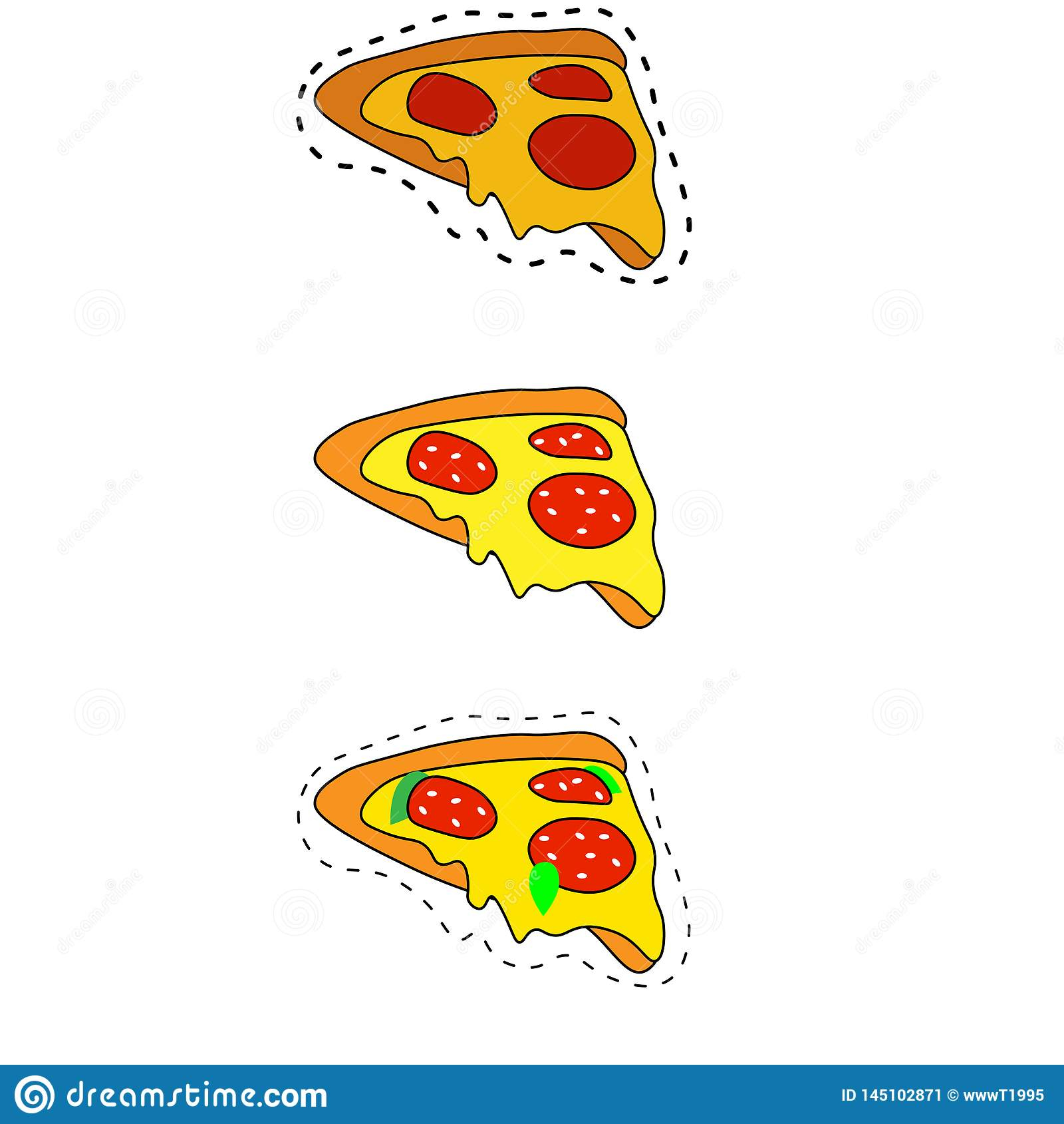 Sie? Pizza wyszczeg?lniaj?ca mieszkanie stylu sieci ikona Karmowa kolekcja