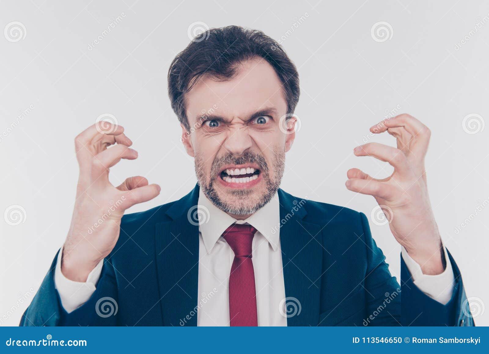 Sie werden gefeuert! Schließen Sie herauf Porträt des aggressiven erschreckenden frigh