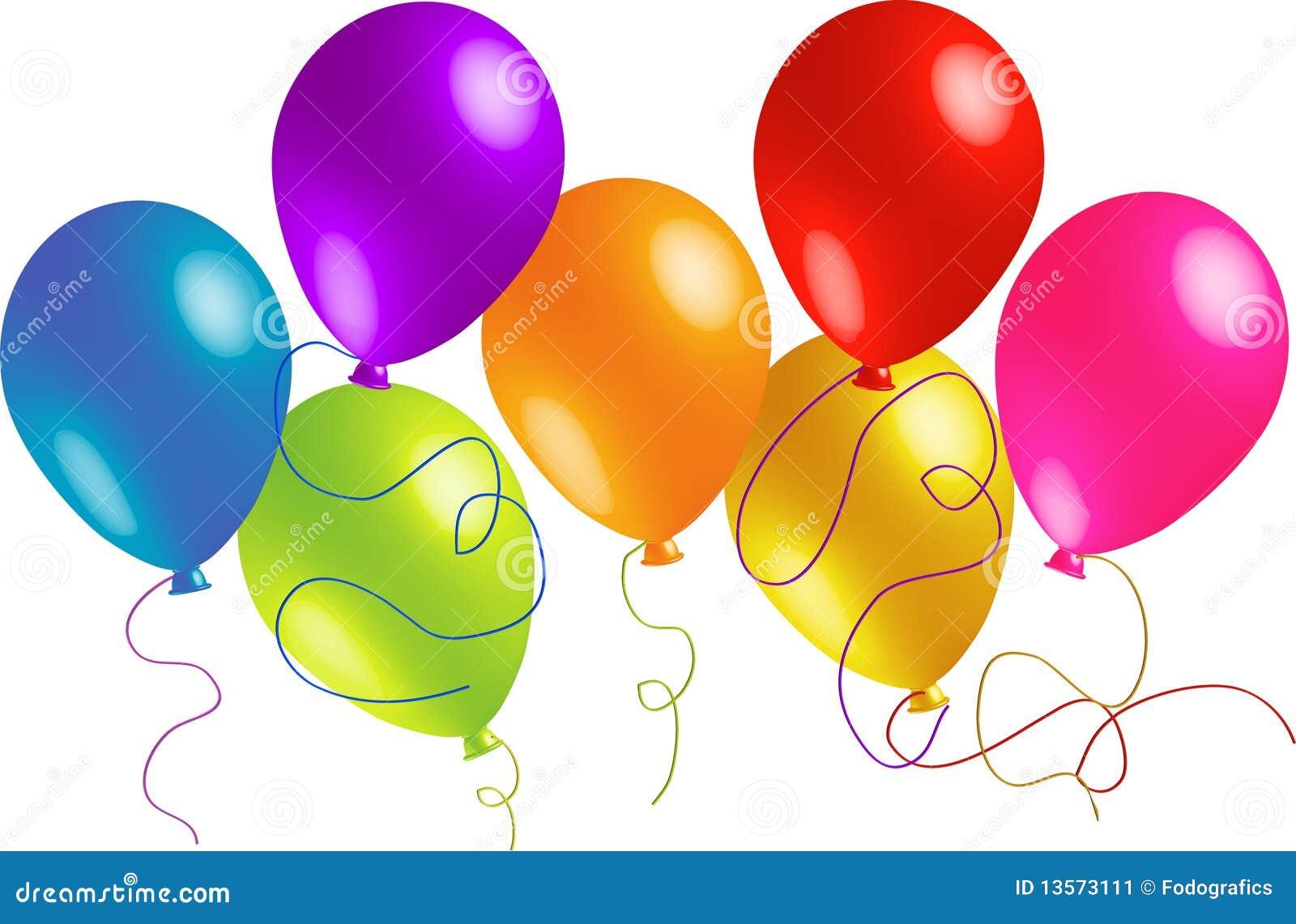 Sieben Schone Geburtstag Ballone Stock Abbildung Illustration Von