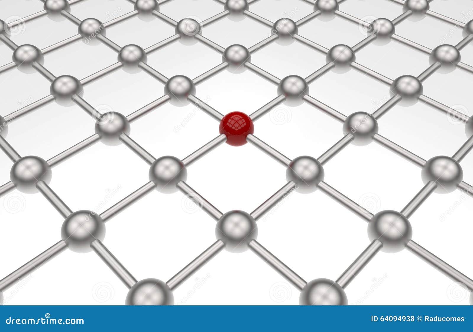 Sieci ścieżki szyk - czerwona sfera