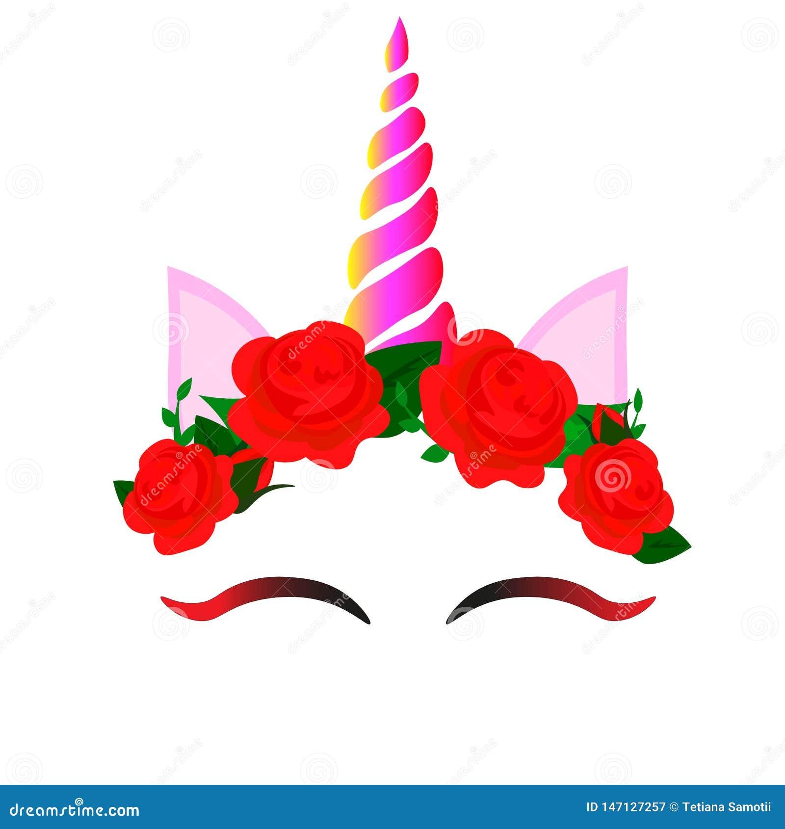 Sieci Ślicznej jednorożec wektorowy graficzny projekt Kreskówki jednorożec głowa z kwiat korony ilustracją