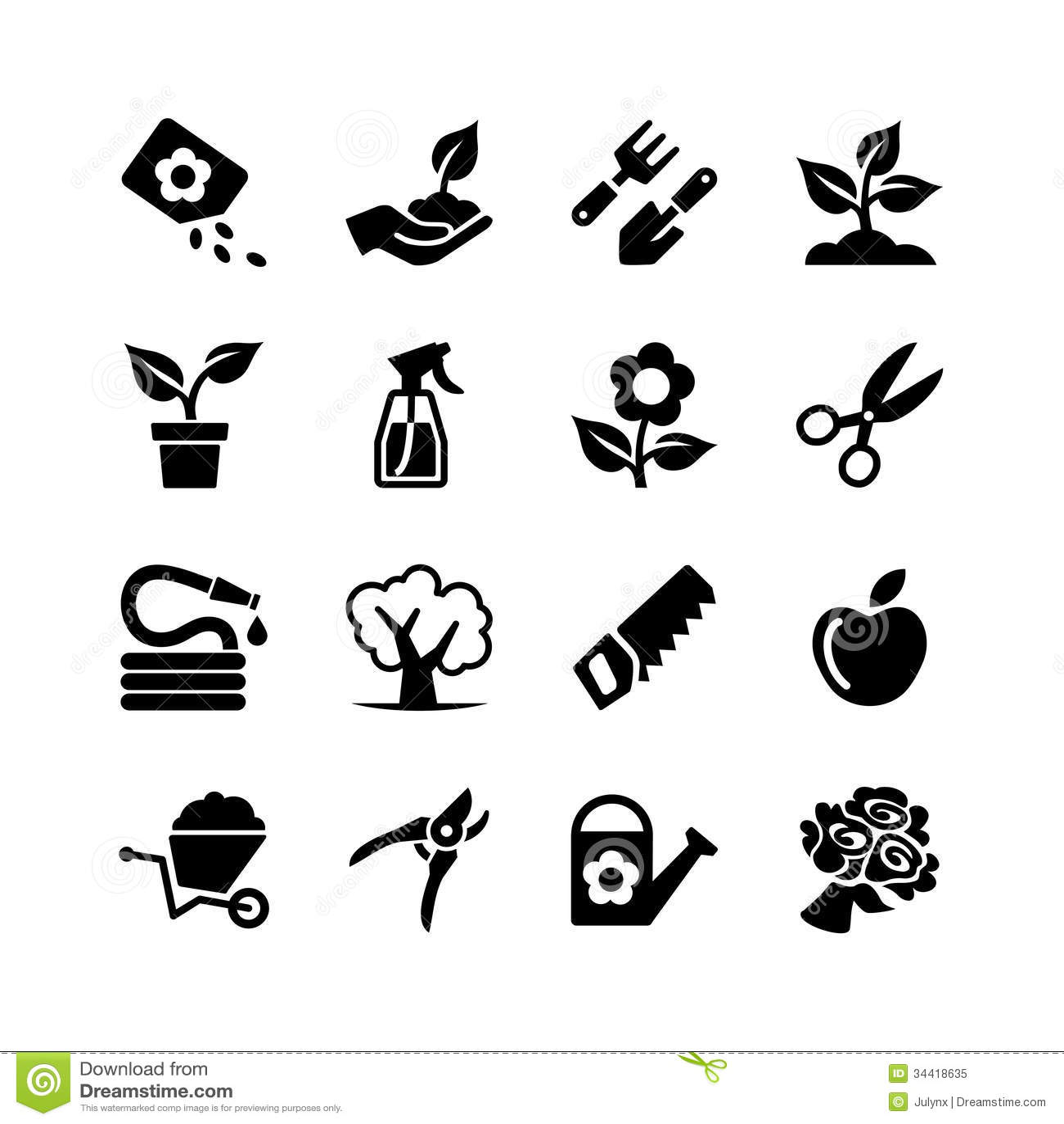 Sieci ikony ustalony ogrodnictwo