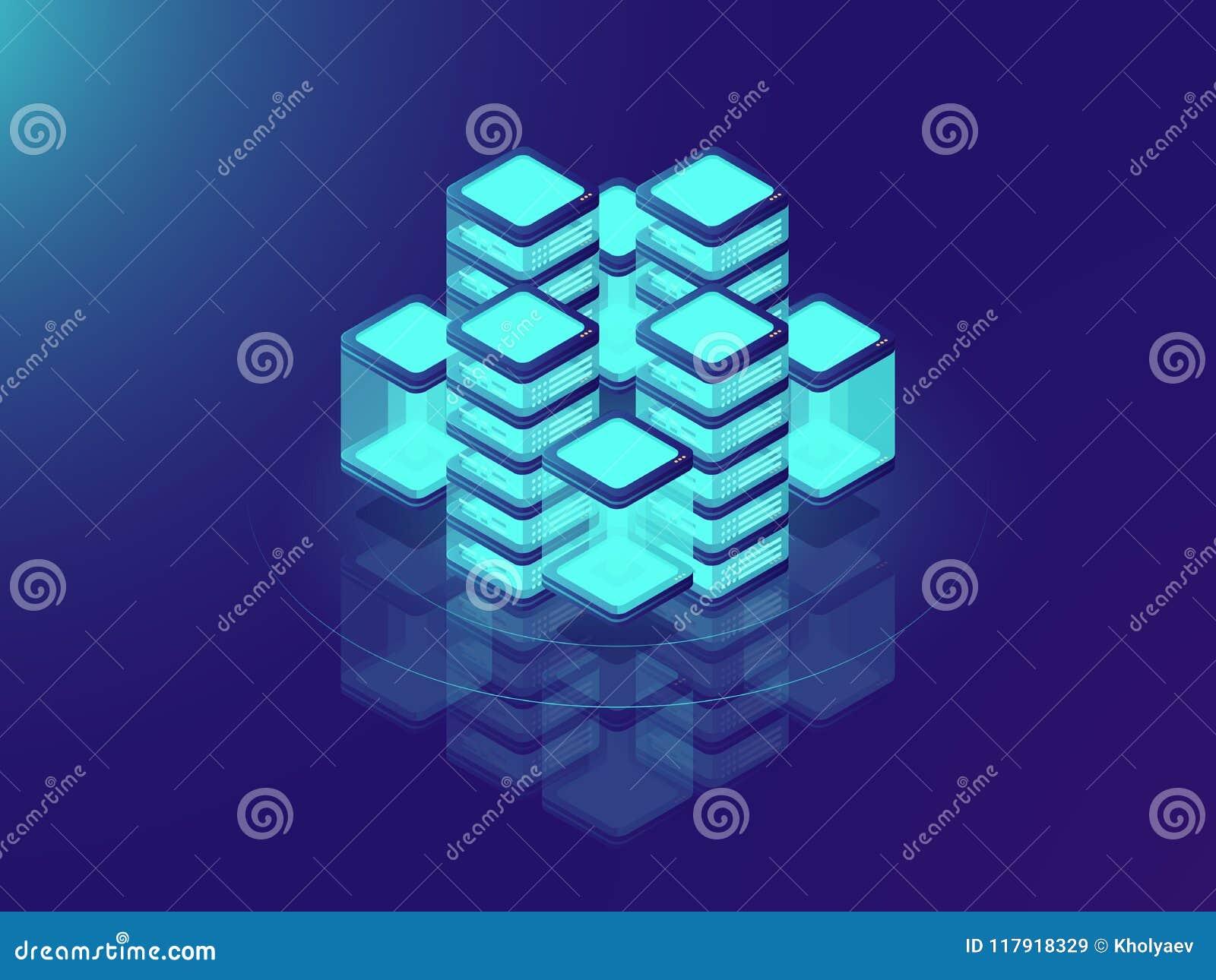 Sieci lub komputer mainframe infrastruktura serweru pokój i datacenter, futurystyczny superkomputer, isometric wektorowa ilustrac