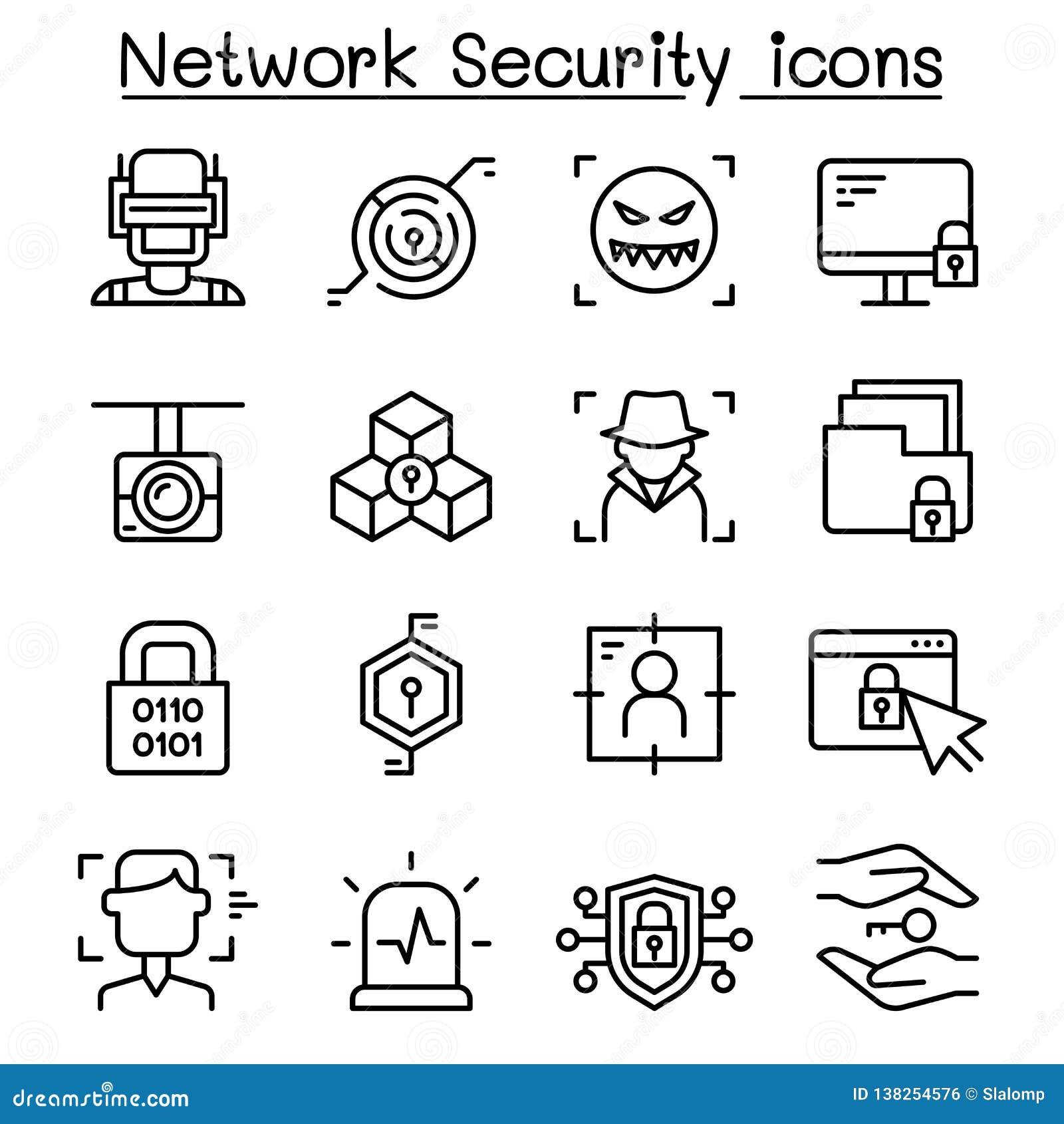 Sieci ochrona, Internetowa zapory ikona ustawiająca w cienkim kreskowym stylu