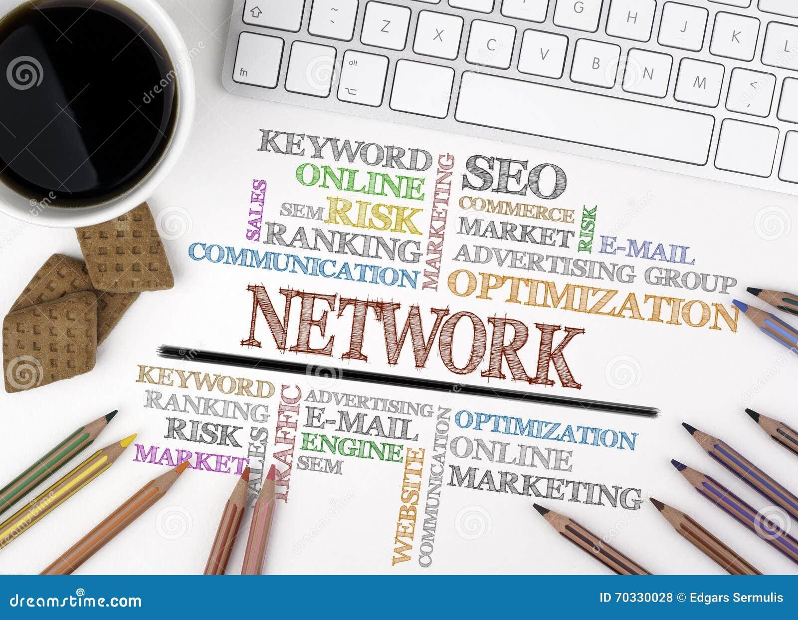 SIECI słowa chmura, biznesowy pojęcie target1166_0_ biznesmena biurka biurowy sieci biel
