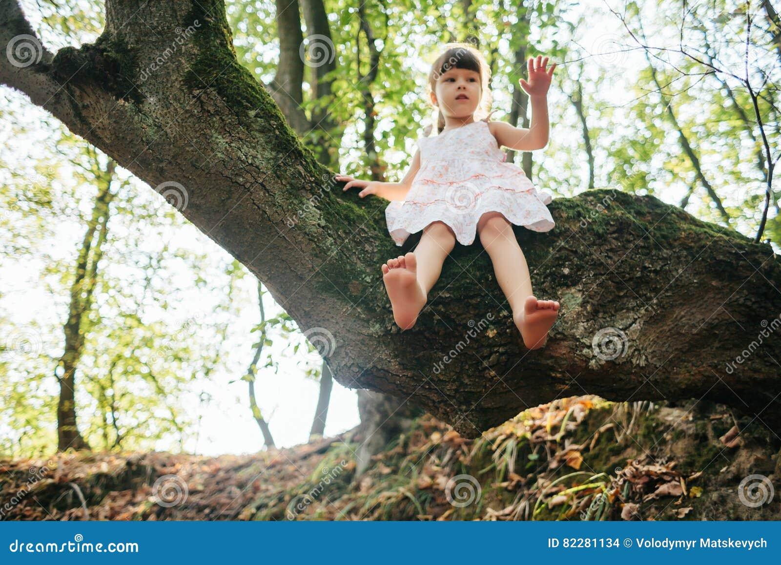 Siedzący dziewczyny drzewo feign