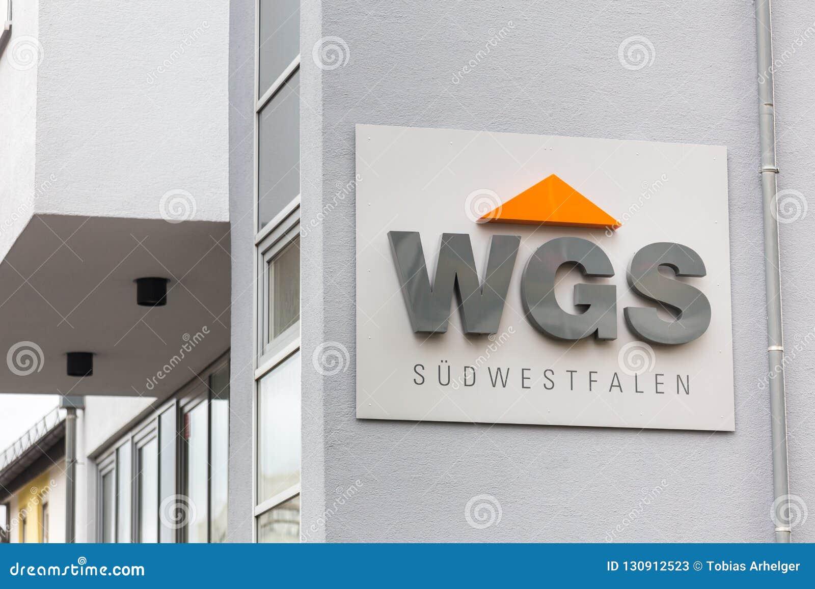 Siegen, Noordrijn-Westfalen/Duitsland - 28 10 18: wgs teken in siegen Duitsland