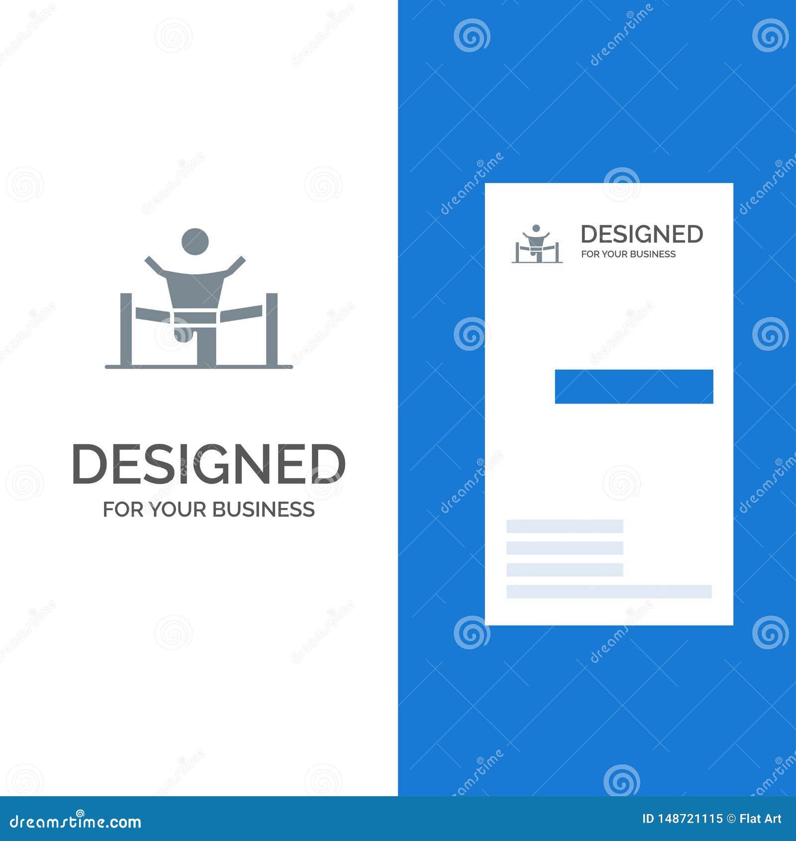 Sieger, Geschäft, Ende, Führer, Führung, Mann, Rennen Grey Logo Design und Visitenkarte-Schablone