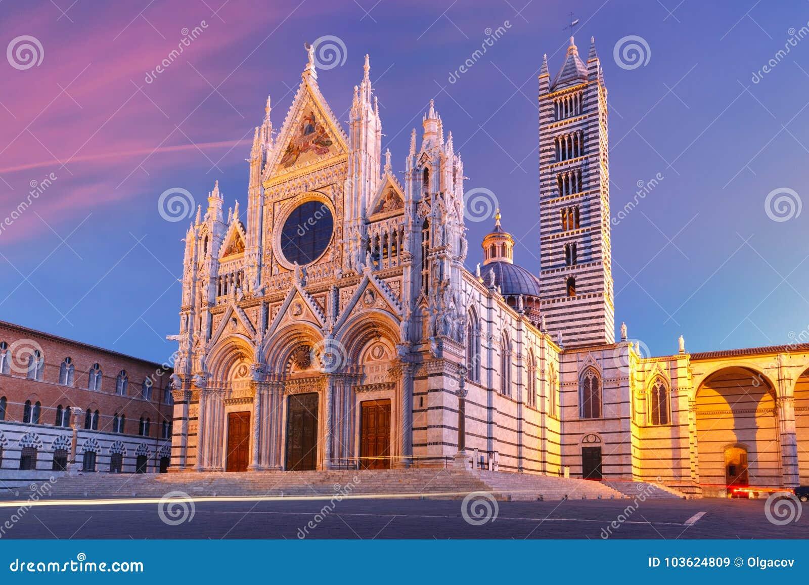 Siena Cathedral At Sunrise, Tuscany, Italy Stock Image ...