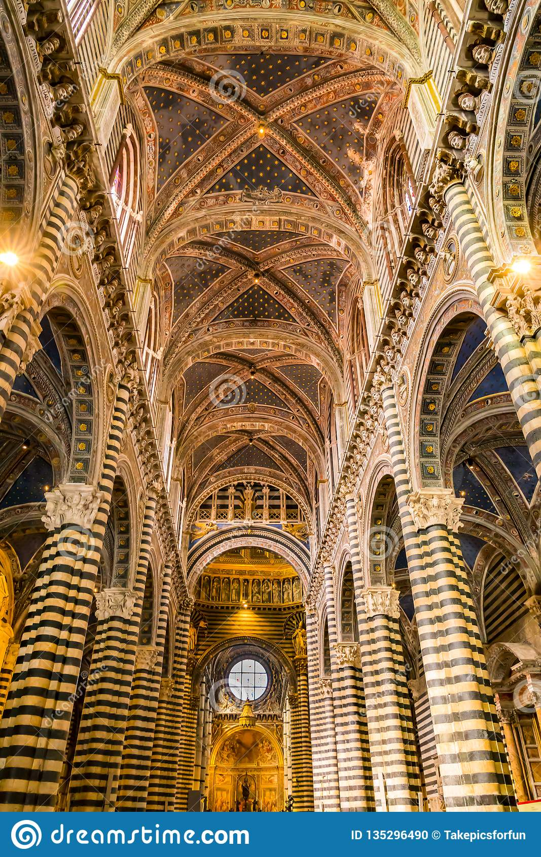 Interior architecture detail of the Siena Cathedral