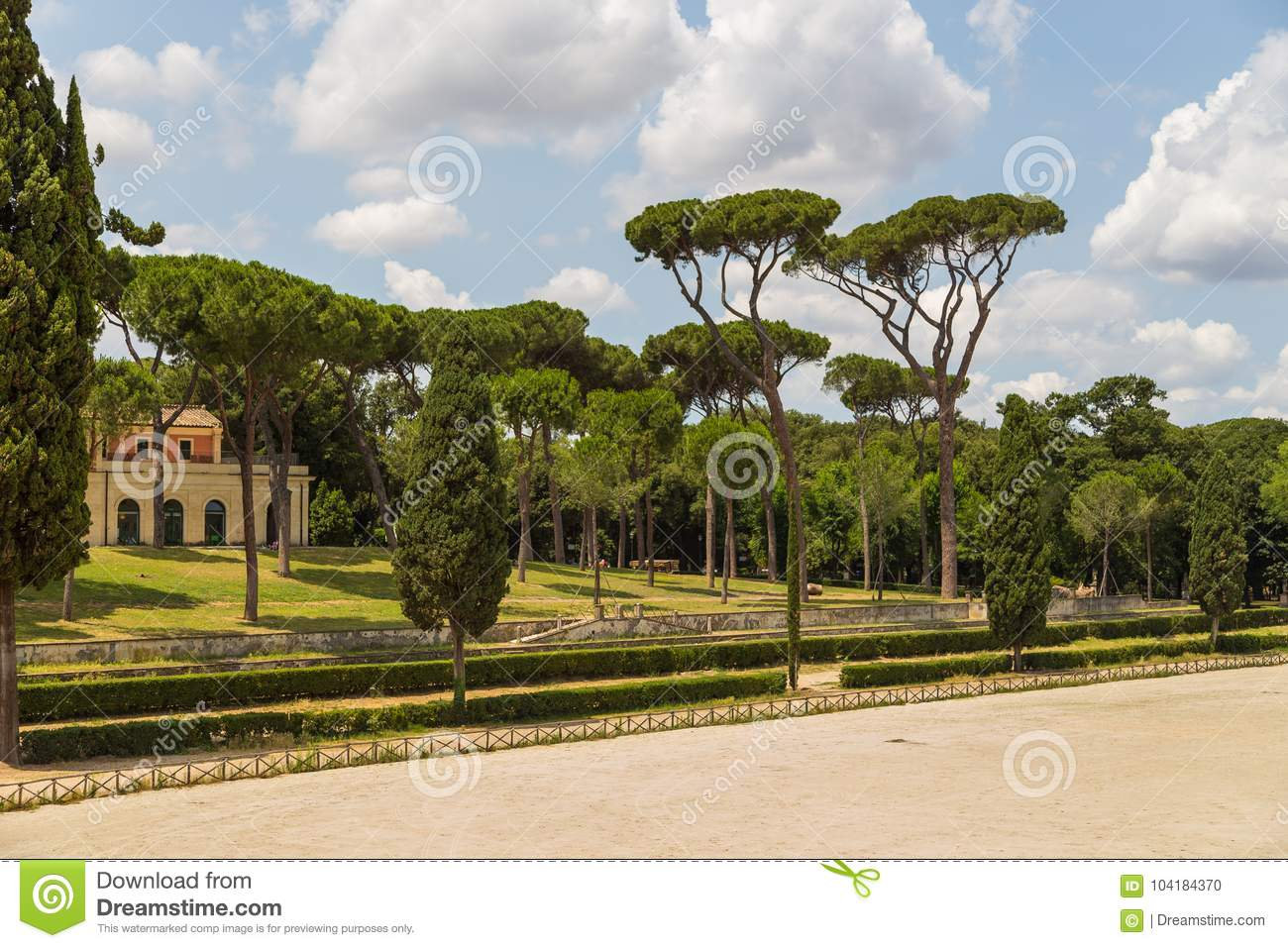 Siena Square Inside The Villa Borghese Gardens. Stock Photo - Image ...